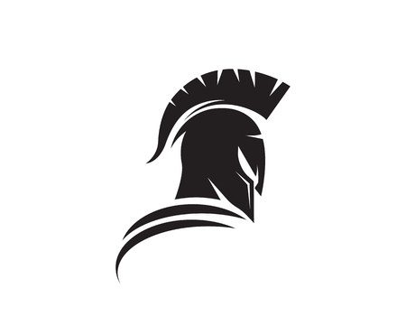 Spartan helmet logo template vector icon design