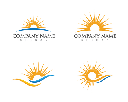 Vector illustration Icon Template Sun over horizon Stock Illustratie