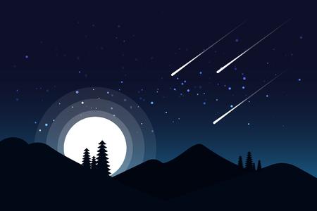 Céu noturno com brilhantes estrelas brilhando