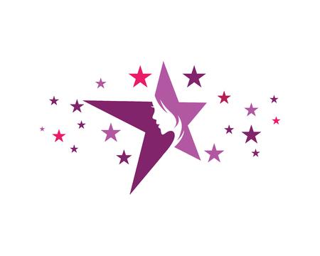 つ星ロゴのコンセプト デザイン テンプレート上で美しい女性。
