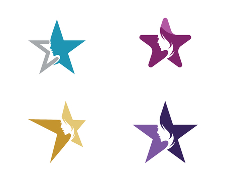 Set of beautiful women with star  logo concept design template.