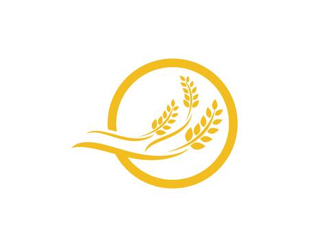 農業小麦、ベクター アイコン デザインのロゴのテンプレート。