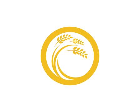 農業小麦ロゴ、テンプレートベクトルアイコンデザイン。  イラスト・ベクター素材