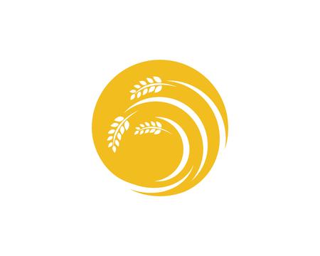 農業小麦ロゴテンプレート、ベクトルアイコンデザイン。