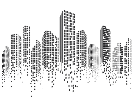 Modern city skyline. City silhouette. Vector illustration in flat design Çizim