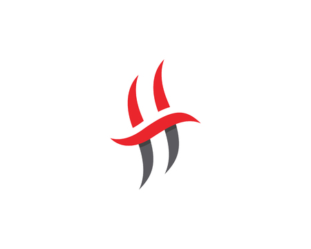 Letter H fire flame icon template design illustration. Illustration