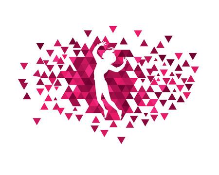 Girls with polygon illustration design.