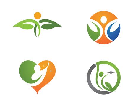 Human character with leaf logo sign illustration vector design Illustration