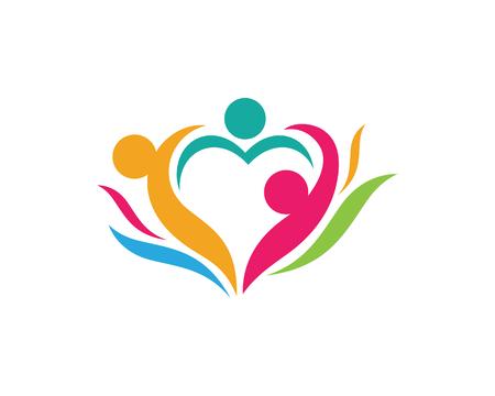 Adoptie en Gemeenschap zorg Logo sjabloon vector pictogram. Stock Illustratie