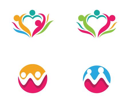 Annahme und Gemeinschaftssorgfalt Logo-Schablonenvektorikone Standard-Bild - 94045181