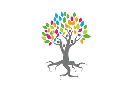 family tree logo vector template Vettoriali