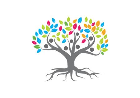 family tree logo vector template  イラスト・ベクター素材