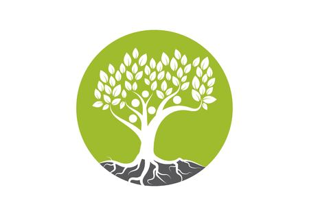 family tree logo vector template Illustration