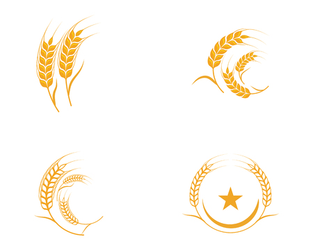 Illustrazione di progettazione dell'icona di vettore del modello del grano di agricoltura