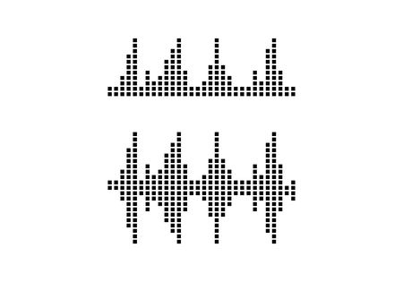 Audio technology, music sound waves vector icon illustration