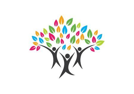 modello di progettazione di logo dell'icona di simbolo dell'albero genealogico