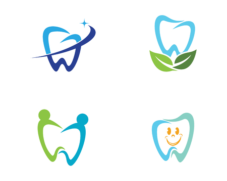 Set of dental symbol template, tooth illustration icon design.