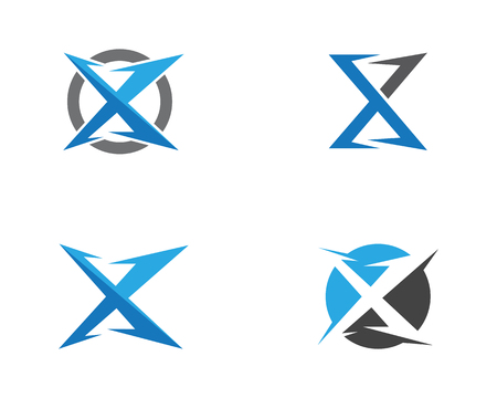 X Letter Logo Template vector icon illustration design  イラスト・ベクター素材