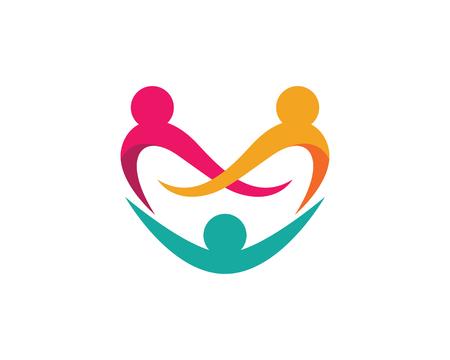 Icona di vettore del modello di logo di cura della comunità e di adozione