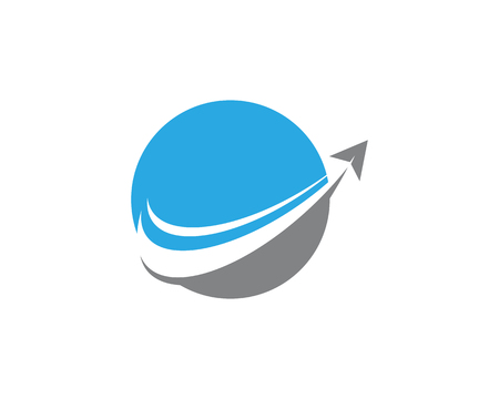 Blue ball with an arrow template vector icon illustration design Vettoriali