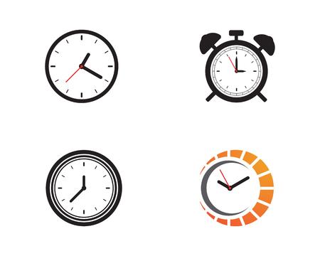 Clock icon vector flat illustration design template