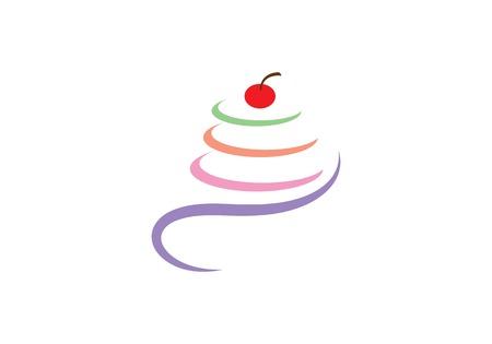 Kuchen Illustration Logo Vektor Vorlage