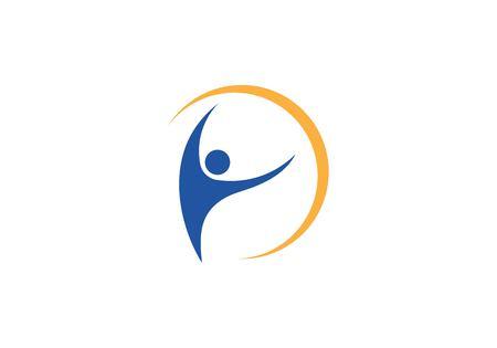 Fun and  healthy life logo concept design template