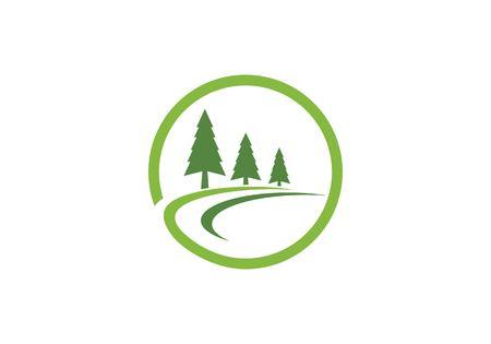 Cedar trees logo design template icon illustration