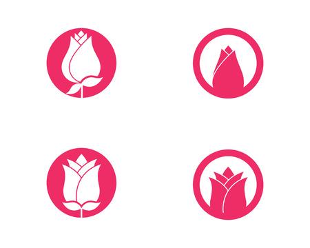 バラの花ロゴテンプレートベクトルアイコンイラスト  イラスト・ベクター素材