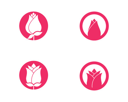 Rose flower Logo Template vector icon illustration Çizim