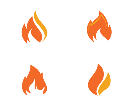 Set of fire flame icons illustration