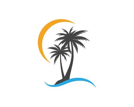 Palm tree summer template vector illustration
