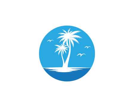 Palm tree summer icon template vector illustration Illustration