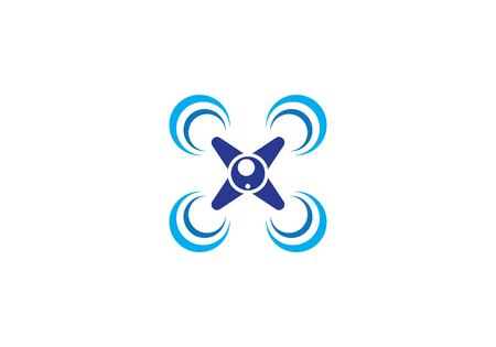 Drone logo vector icon template Ilustracja