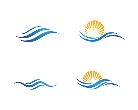 Plantilla de logotipo de diseño de ilustración de vector de icono de onda de agua Logos