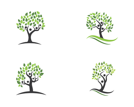 family tree symbol icon logo design template illustration Çizim