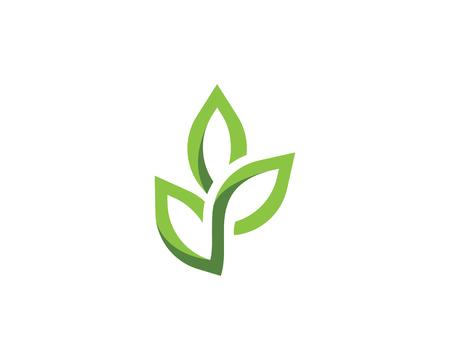 Logos del vettore verde dell'elemento della natura di ecologia della foglia dell'albero
