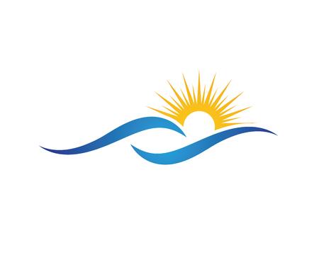 Sol con la ilustración de vector de icono de onda de agua Ilustración de vector