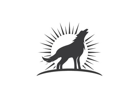 Wolf Logo Template vector icon illustration design Illustration