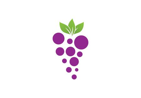 grapes with leaf icon for food apps and websites Illusztráció
