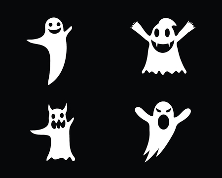 Ghost icons  illustration of flat design characters