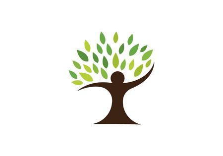 Human tree symbol icon logo design template