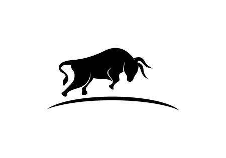 Illustrazione dell'icona di vettore del modello di logo del toro