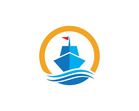 Cruise ship Logo Template vector icon illustration design