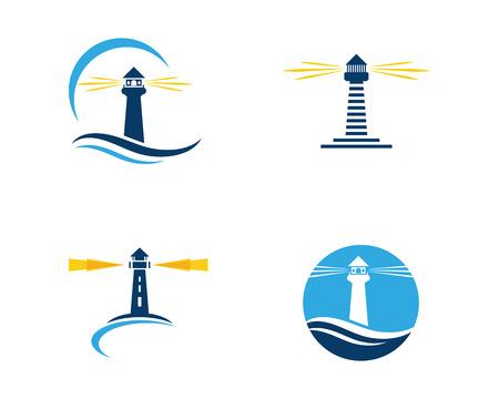 Vuurtoren Logo sjabloon pictogram vectorillustratie