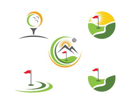 Disegno dell'icona dell'illustrazione di vettore del modello di logo di golf