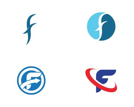 Diseño de ilustración de icono de vector de plantilla de logotipo de letra F