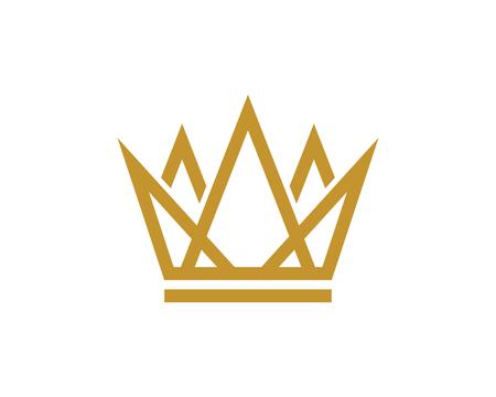 Kronenlogo-Schablonenvektorikonen-Illustrationsentwurf Logo
