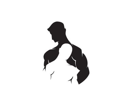 Objeto vectorial e iconos para etiqueta deportiva, insignia de gimnasio, diseño de logotipo de fitness