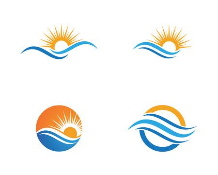 Logotipo de diseño de ilustración de vector de icono de onda de agua